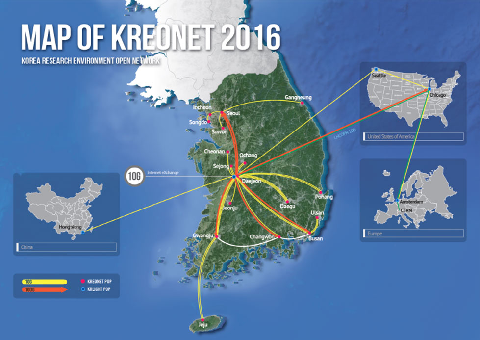 MAP OF KREONET 2016 KOREA RESEARCH ENVIRONMENT OPEN NETWORK